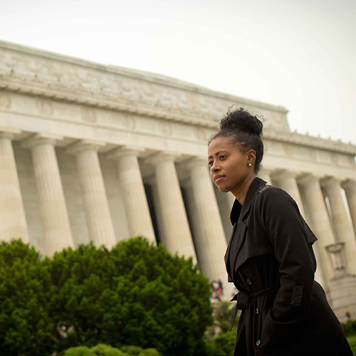 Jamira Burley walking around DC.