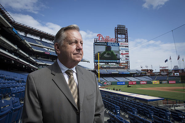 Dan Baker standing in Citizens Bank Park.